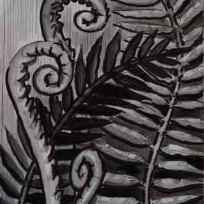 Five Ferns too (watercolor)